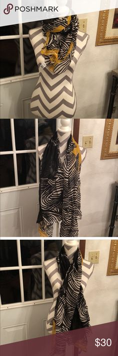 🎉Just In🎉 DVF Silk Scarf All silk Wrap/Scarf with beautiful hues of yellow, black, white. Purchase by 4:00 CT for same day shipping. Diane Von Furstenberg Accessories Scarves & Wraps