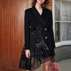 Women Casual Patchwork Mesh Blazers Notched Long Sleeve High Waist Lace Up Fashion Coat Blazer Women Blazer, Blazers For Women, Coats For Women, Dinner Outfits, Casual Outfits, Coat Dress, Indian Dresses, Blazer Jacket, Work Wear