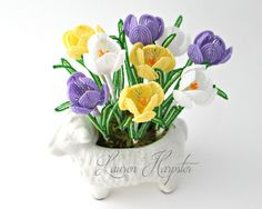 French Beaded Crocus small Spring Flower arrangement by LaurenHCreations