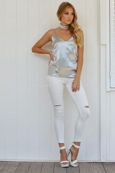 f0a13e557a Satin Affair Top (Silver)▷ ▷ ▷ Shop It Now ❤ Xenia Boutique xx