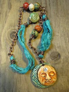 Mixed Media Polymer Clay Rustic Boho Gypsy Sun by SpontaneousSoul