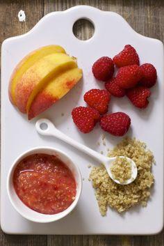 Peach Raspberry Quinoa Chunky Puree Baby FoodE organic baby food recipes to inspire adventurous eating Baby Puree Recipes, Pureed Food Recipes, Baby Food Recipes, Healthy Recipes, Simple Recipes, Burger Recipes, Kitchen Recipes, Recipes Dinner, Chicken Recipes