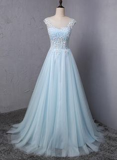 Light blue tulle scoop neck A-line long sweet 16 prom dress, lace formal dress - Ellise M. Light blue tulle scoop neck A-line long sweet 16 prom dress, lace formal dress - Junior Party Dresses, Cute Prom Dresses, Blue Wedding Dresses, Beautiful Prom Dresses, Pretty Dresses, Homecoming Dresses, Formal Dresses, Dress Prom, Prom Gowns