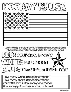Hooray for the USA! {Printables You ever wonder what our American colors the red, white and blue is all about? Find out more with a free printable and kids coloring page that gives the meaning behind our patriotic colors. Kindergarten Social Studies, Teaching Social Studies, Kindergarten Worksheets, In Kindergarten, Free Worksheets, Flag Coloring Pages, Coloring Pages For Kids, Kids Coloring, Coloring Books