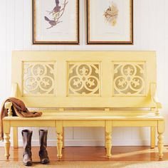 Cute hallway bench! I've always thought an old church pew would make a great entry way bench