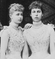 Princesses Marie (Missy) and Victoria Melita (Ducky) of Edinburgh.  The sisters were maternal 1st cousins to Nicholas and paternal 1st cousins to Alexandra.  Ducky was also Alexandra's sister-in-law for seven years.  Later, she married her and Nicholas' 1st cousin Grand Duke Kyrill, the son of their uncle Grand Duke Vladimir.  A tangled family tree!  Kyrill proclaimed himself head of the House of Romanov after the assassination of Nicholas.