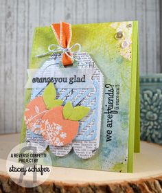 Stacey's Stamping Stage: Orange You Glad - Reverse Confetti Color Challenge