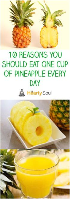 10 Reasons You Should Eat One Cup of Pineapple Every Day - dailyhealthtricks Benefits Of Eating Pineapple, Get Healthy, Healthy Food, Healthy Recipes, Mental Health And Wellbeing, Nutrition Chart, Great Appetizers, Fruits And Vegetables