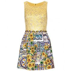 Dolce & Gabbana Mixed-Media Dress With Bead Embellishment (£955) ❤ liked on Polyvore featuring dresses, vestidos, vestiti, dolce & gabbana, jacquard, yellow cocktail dress, beaded dress, woven dress, round neck dress and applique dress