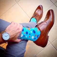 Stylish blue socks for formal wear. Rock a polka dot socks with any dress