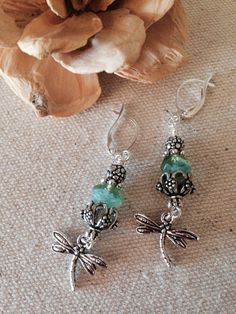 Faceted Turquoise Glass Dragon Fly Pewter Earrings