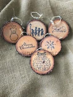 Wood Slice Christmas Ornaments - these would be great for the girls at the office!