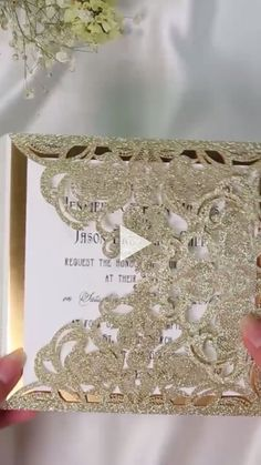 Wedding Designs Luxury pale gold glitter wedding invitations with glitter mirror paper bottom Gold Glitter Paper, Gold Glitter Wedding, Glitter Wedding Invitations, Rustic Invitations, Elegant Wedding Invitations, Wedding Invitation Cards, Wedding Cards, Wedding Gifts, Glitter Mirror