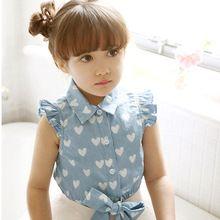 Moda Jean bluz denim gömlek Kızlar için Prenses Nokta Baskı Çocuk Bluz & Gömlek Kız Çocuklar Giyim Yaz(China (Mainland))