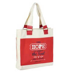 Red and white Hope tote bag that reads this hope is an answer for the soul, firm and secure on the front and the back. It is inspired by Hebrews Christian Art Gifts, Best Tote Bags, Hebrews 6, Net Bag, Diy Handbag, Unique Purses, Kate Spade Purse, Vintage Purses, Satchel Handbags
