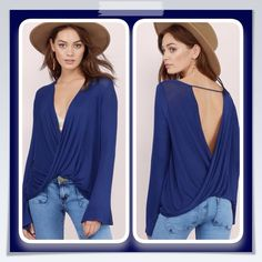Wait your Turn Wrap Shirt The wait your turn wrap shirt is bound to catch a double take..Long sleeves V- Neck, surplice wrap at the front and back bodice, perfect to show off a cute Lacy bralette or cami..soft rayon- spandex... Tops Blouses