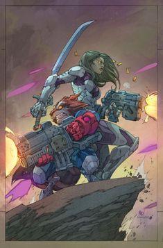 Gamora and Rocket Racoon by Joe Madureira #GuardiansoftheGalaxy