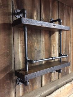 Reclaimed Wood and Pipe Bar Shelf with Wine Glass Rack and Bottle Rail or Drink Rail Iron Bracket Wine Not Reclaimed Wood and Pipe Wine Rack Bar Shelf Double Wine Glass Shelf, Wine Glass Rack, Glass Shelves, Metal Pipe Shelves, Bar Shelves, Wall Mounted Shelves, Wall Bar Shelf, Diy Home Bar, Bars For Home