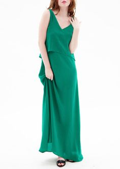 Pantone's Colour of Year 2013: Emerald and we have it! Avery By Wang, Lillooet Silk Maxi Dress in Evergreen, Made in Canada #coloroftheyear