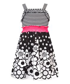 Look at this Rare Editions Black & White Floral Smock-Waist A-Line Dress - Girls on #zulily today!
