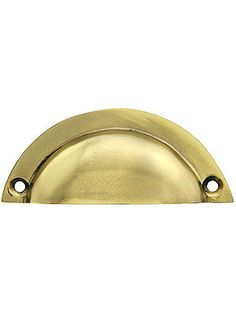 "Polished Nickel Bin Pulls. 3 1/2"" Cast Brass Half Moon Bin Pull With Choice of Finish"