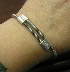 New GUITAR STRING Bracelet, Thick Bass Guitar String & Sterling Silver, Adjustable Size...Rock n Roll version of classic Crossover Design! on Etsy, $70.00