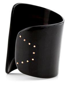 Monique Pean asymmetrical black buffalo horn cuff