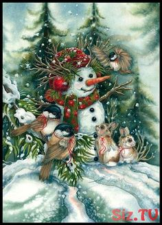 Snowman - Bergsma Gallery Press :: Products :: Holiday - Occasions :: Christmas :: Christmas Prints :: Frosted With Happiness - Prin Christmas Scenes, Vintage Christmas Cards, Christmas Snowman, Vintage Cards, Winter Christmas, Christmas Crafts, Christmas Decorations, Christmas Ornaments, Merry Christmas