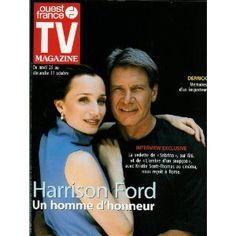 """Harrison Ford (avec Kristin Scott-Thomas dans """"L'ombre d'un soupçon"""") : Un homme d'honneur, dans TV Magazine Ouest-France n°16713 du 22/10/1999 [couverture et article mis en vente par Presse-Mémoire]"""