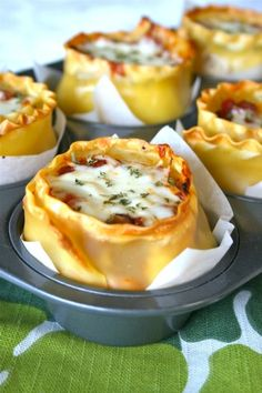Lasagna Cups from www.laurenslatest.com Probably make a few modifications to make it healthier.