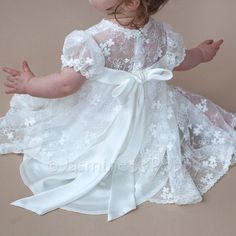 Baby christening dress baptism dress for baby girl bow at image 3