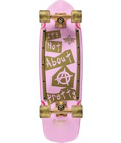 """Take a lesson from Cindy Whitehead and do what you love. This Cindy Inap 29"""" cruiser skateboard from Dusters features an anything but pretty gold and pink bottom graphic with gold rails to protect your deck. The top grip tape with leopard print will show"""