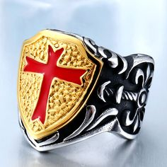 Stainless Steel Knights Templar Retro Cross Armor Shield Ring     Tag a friend who would love this!     FREE Shipping Worldwide.     Buy one here---> https://hisandhertrove.com/stainless-steel-knights-templar-retro-cross-armor-shield-ring/