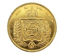 MOEDA BRASILEIRA EM OURO DE 1853. PESO 17.8 GRAMAS MEDE.. Gold And Silver Coins, Rare Coins, Fountain Pen, Brazil, Empire, Stamp, Ancient History, Old Art, Rare Stamps
