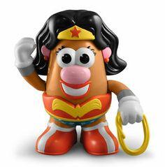 WONDER WOMAN Mrs. Potatohead Wearing her Tiara Bracelets & Lasso of Truth