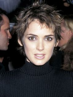 Messy in the best way, Winona Ryder's short hairstyle is so flirty.