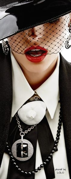 The classic #Chanel woman: Karlina Caune by Giampaolo Sgura for Vogue Paris 2014. #Red lips.