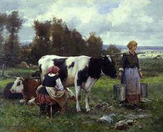 Milkmaids in the Field - Julien Dupre (1851-1910)