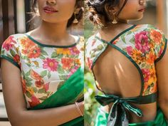 Looking for floral blouse designs to try with saree? Before you buy, read our extensive list of all floral blouse models that you can try with any saree. Designer Blouse Patterns, Saree Blouse Patterns, Sari Blouse Designs, Blouse Styles, Pattern Blouses For Sarees, Modern Blouse Designs, Designer Saree Blouses, Sari Design, Saree Styles