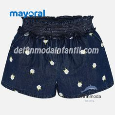 Girls blue shorts from Mayoral, made in soft denim-look chambray, with an embroidered white and yellow daisy pattern. They have a ruched waistband and side pockets. Daisy Shorts, Blue Shorts, Denim Shorts, Daisy Pattern, Denim Fabric, Everyday Look, Short Girls, Chambray, Blue Denim