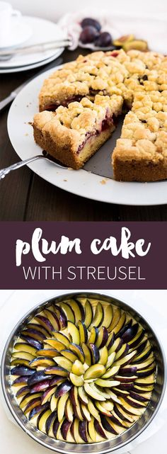 Plum Cake with Streusel - a delicious coffee cake which is easy to make! This… Plum Cake with Streusel - a delicious coffee cake which is easy to make! Plum Recipes, Fruit Recipes, Cupcake Recipes, Baking Recipes, Dessert Recipes, Top Recipes, Plum Crumble, German Baking, Prune