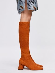 Slim boots with slanted heel, orange - Max&Co. Mesh Socks, Max Co, How To Stretch Boots, Polo Neck, November 2019, Keep Warm, Get The Look, Leather Boots, Turtleneck