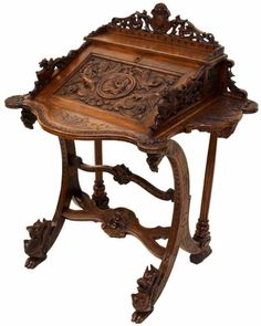 ORNATE ANTIQUE FRENCH ROCOCO REVIVAL WRITING DESK  c.1900
