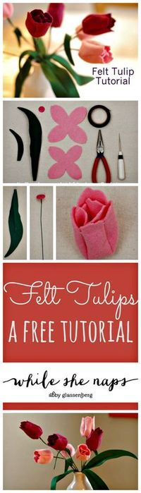 A free PDF pattern and tutorial for Felt Tulips.