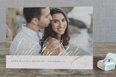 """""""Fancy"""" - Elegant, Classical Foil-pressed Save The Date Cards in Gold by Chryssi Tsoupanarias."""
