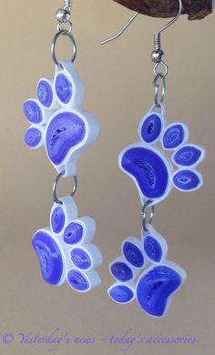 Quilled paw print earrings