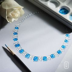 An exceptional creation from the world's best artisans. #Diamonds and #sapphires from #HarryWinston. #HighJewelry