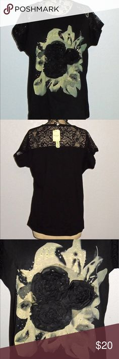 NWT Mi Shang Floral Applique & Lace Ladies Top Mi Shang Floral Applique & Lace Ladies Top   Tag is 3XXXL but it fits like a 2XXL   Brand New with Tags Mi Shang  Tops Tees - Short Sleeve