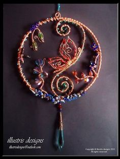 wire wrapped suncatcher with 3d butterfly door illustrisdesigns