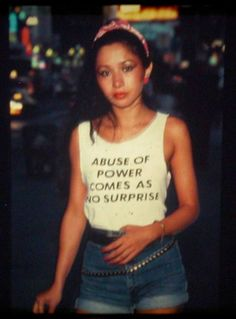 """This is Lady Pink, one of the only female graffiti artists active in the Jenny Holzer, famous for her feminist postmodern """"Truisms,"""" designed this shirt and Lady Pink wore it around NYC. ::: Lady Pink was such a positive voice for me as a Kid. Jenny Holzer, Barbara Kruger, Robert Mapplethorpe, Azzedine Alaia, Jean Michel Basquiat, David Hockney, Mode Style, Role Models, Memphis"""